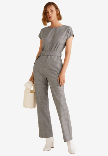 Mango grey Long Check Jumpsuit B4F4AAAD5BB36DGS_1