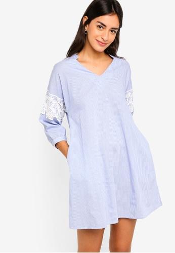 ZALORA blue Lace Trim Shirt Dress 86B23AA5EE7027GS_1