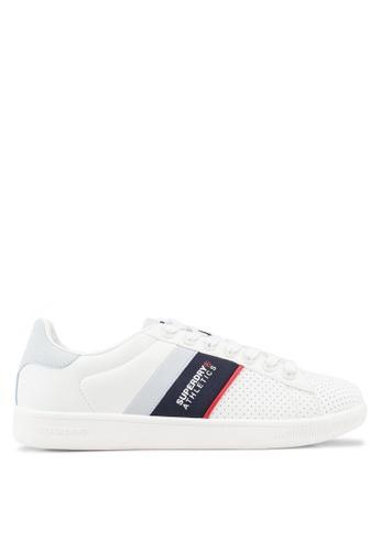 Superdry white Sleek Tennis Trainers D5D57SH749F6EDGS_1
