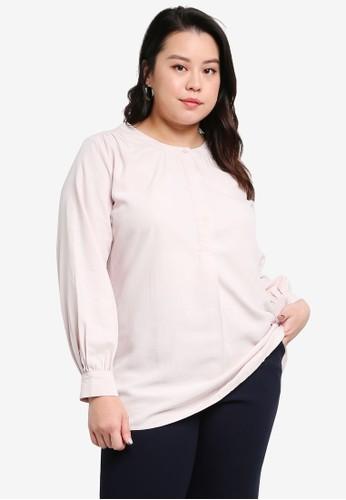 Ex'otico pink Long Sleeve Blouse 539F8AA128EEECGS_1
