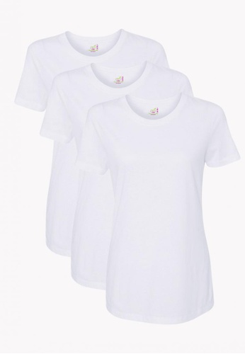 ORGANIC white 3 Pack Ladies Round Neck Tshirt A12A8AA170CADBGS_1