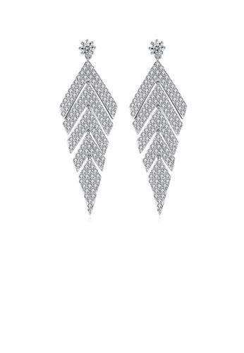 Glamorousky 白色 璀璨個性幾何耳環配鋯石 AA466AC78253B9GS_1