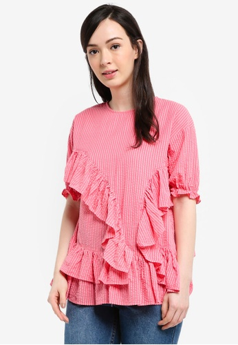 LOST INK pink Extreme Frill Smock Blouse D8A74AA41EC032GS_1