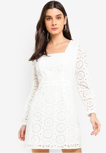 Glamorous white Square Neck Openwork Dress A67EBAA725ADF9GS_1