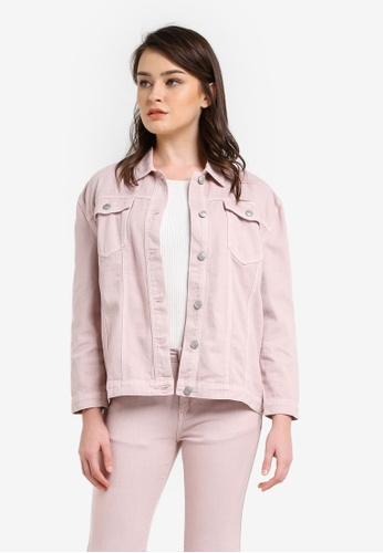 Zalia pink Garment Dyed Long Line Trucker Jacket B6004ZZ773FD7CGS_1