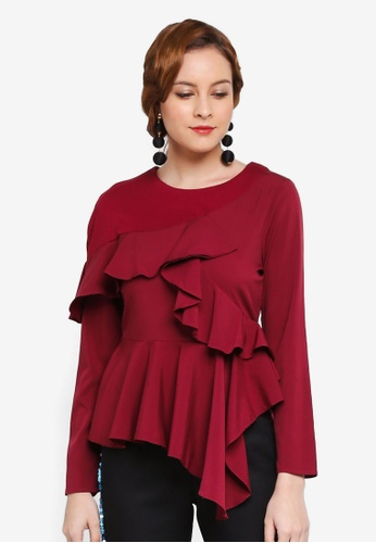 Lubna red Asymmetrical Top 97374AAD4AA0D6GS_1