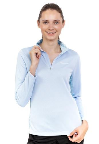 Huitieme 藍色 HUITIÈME 女運動戶外舒適半拉鍊印花長袖上衣 浅蓝 0A179AAEC49BCDGS_1