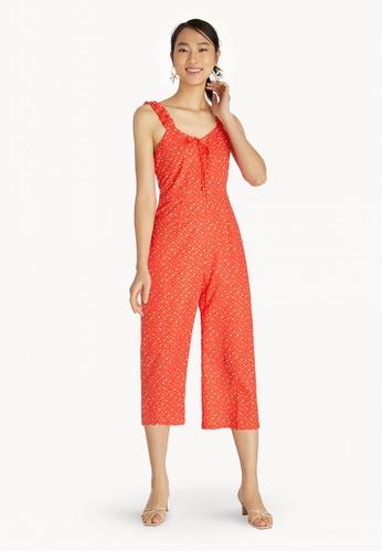 e82090e018e Buy Pomelo Ruffled Shoulder Floral Jumpsuit - Red