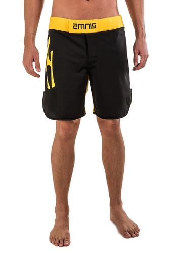 "AMNIG black Amnig Men Fighter Shorts- 18"" Black Yellow AM133AA32LGHMY_1"