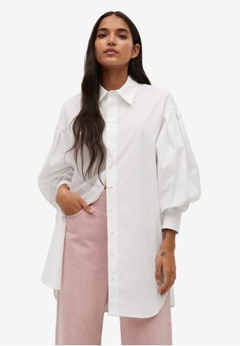 Mango white Oversize Cotton Shirt 6D219AA07FC4DEGS_1