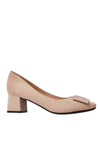 Twenty Eight Shoes 5cm尖頭方扣絨面高踭鞋1270-15 9EABDSHCC87630GS_1