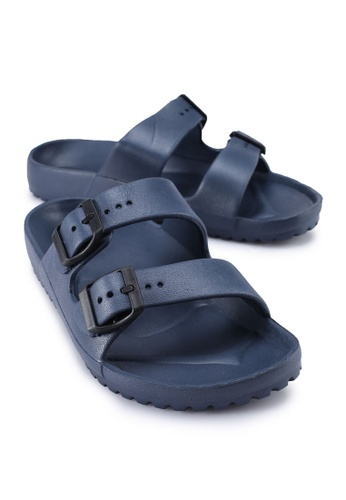 Rubi navy Gilmore Double Buckle Slides 00294SH509A051GS_1