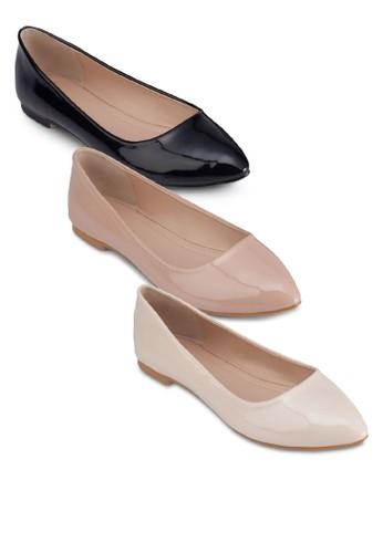 三入漆面尖頭平底鞋, 女鞋, 芭蕾zalora時尚購物網的koumi koumi平底鞋