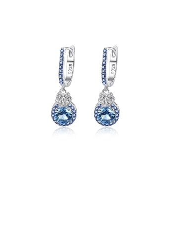 Glamorousky blue 925 Sterling Silver Fashion Elegant Geometric Round Earrings with Blue Cubic Zirconia FA996ACAE16470GS_1