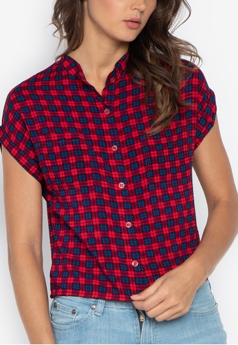 531a4c41 Shop Folded & Hung Short Sleeves Plaid Cropped Button Down Top Online on  ZALORA Philippines