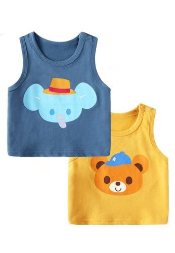Kiddies Crew yellow and blue and multi (2 Piece) Dumbo and Teddy Bear Boys Girls Baby Kids Sleeveless Singlet Tank Top Tee Shirt (T-shirt) 6B069KA77F360FGS_1