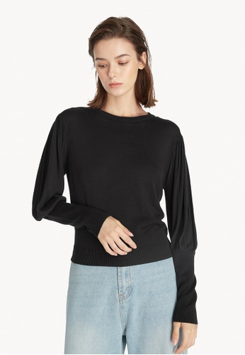 Pomelo black Puffed Sleeve Sweater - Black 4F146AA06F2C54GS_1