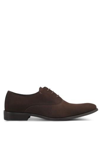 ZALORA brown Faux Suede Leather Oxford Shoes A9817SHC5F47A1GS_1