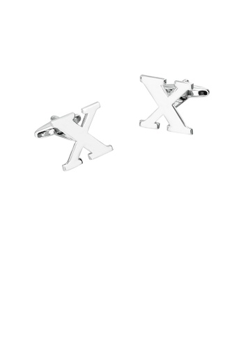 Glamorousky silver Simple Personality English Alphabet X Cufflinks D6EB2ACF7AB4C4GS_1