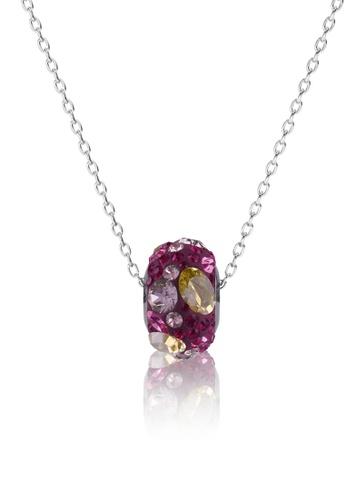 Her Jewellery red and pink and purple BeCharmed Pave Medley Bead Pendant (Red) - Made with premium grade crystals from Austria E9E3FAC0DEC431GS_1