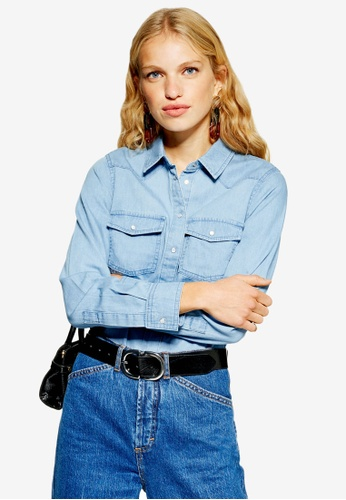 3313661781a Buy TOPSHOP Fitted Denim Shirt Online on ZALORA Singapore