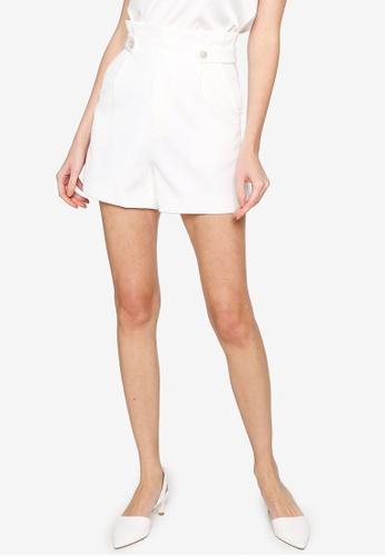 Hopeshow white High Waist Pleated Flare Shorts 4BCD4AA8225726GS_1