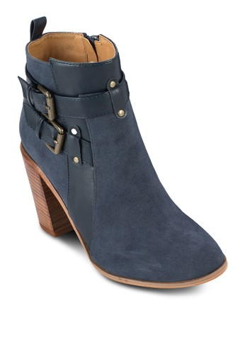 Helesprit 尖沙咀lo 雙扣環仿麂皮粗跟踝靴, 女鞋, 鞋