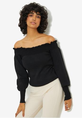 Trendyol black Off Shoulder Sweater Top A6309AA2A98D5FGS_1