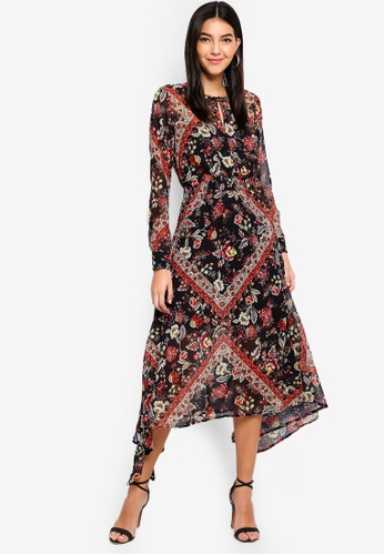 Miss Selfridge black Scarf Print Hanky Maxi Dress 649BCAA10ADB32GS_1