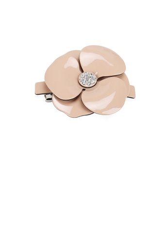 Glamorousky white Fashion and Elegant Pink Camellia Large Hair Slide with Cubic Zirconia D2E54ACB0F6748GS_1