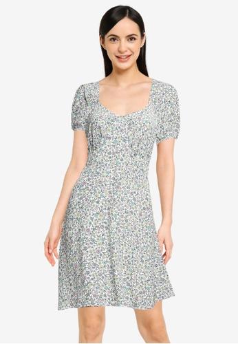 Cotton On green and multi Woven Essential Tie Back Mini Tea Dress 5BFC8AA817785CGS_1