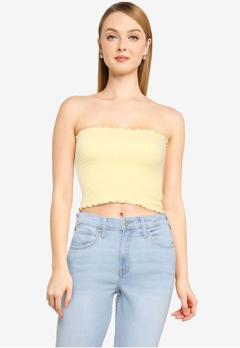 Hollister yellow Reversible Smocked Tube Top 64947AAE0AFD53GS_1