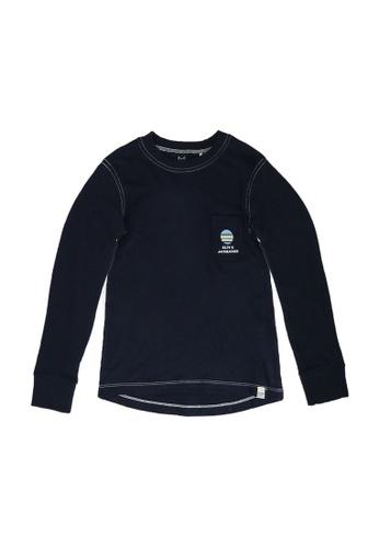 Jack & Jones navy Boys Jersey Long Sleeve T-Shirt B8B3BKAD8F7AA4GS_1
