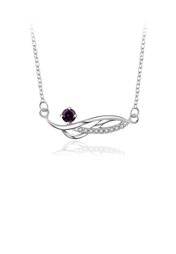 Glamorousky purple Fashion Elegant Geometric Line Necklace with Purple Cubic Zircon 02D38AC32795CFGS_1
