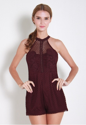 Leline Style red Hana Crochet Romper LE802AA70TDXSG_1