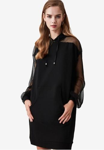 Trendyol black Lace Sleeve Hooded Dress E22C0AACA3CDEBGS_1