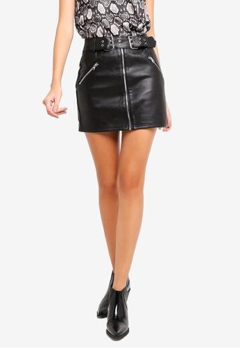 TOPSHOP black Beatrix Pu Skirt 5090CAACD89FD1GS_1