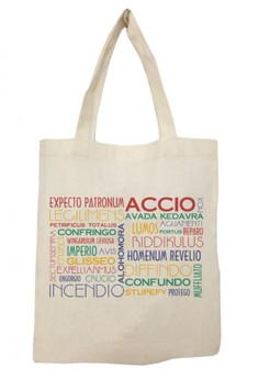 Harry Potter Typography Spells Tote Bag