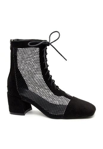 Twenty Eight Shoes 黑色 性感網布中筒靴 VB386 7484DSH446F04BGS_1