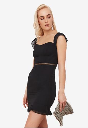 Trendyol black Carmen Collar Waist Detail Dress 9365BAA5908F7FGS_1