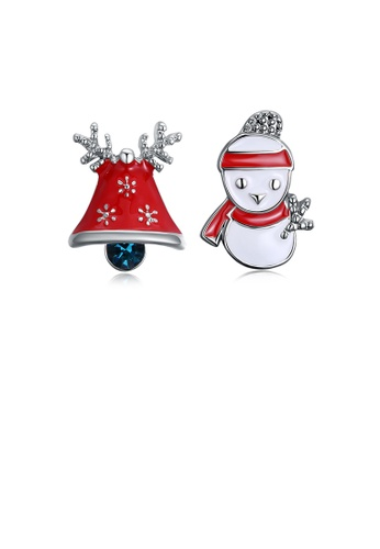 Glamorousky blue Fashion Romantic Christmas Snowman Bell Stud Earrings with Blue Cubic Zircon 0714CAC1EACA7CGS_1