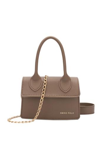 Swiss Polo brown Swiss Polo Ladies Chain Sling Bag E74E0ACD242092GS_1