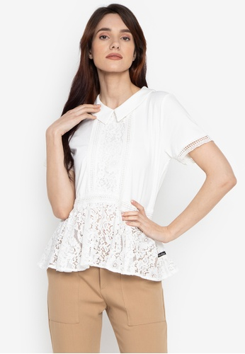 5fda79f4eef57 Kamiseta white Tabitha Short Sleeves Collared Blouse With Lace Combination  FEDD2AA10DB7CDGS 1