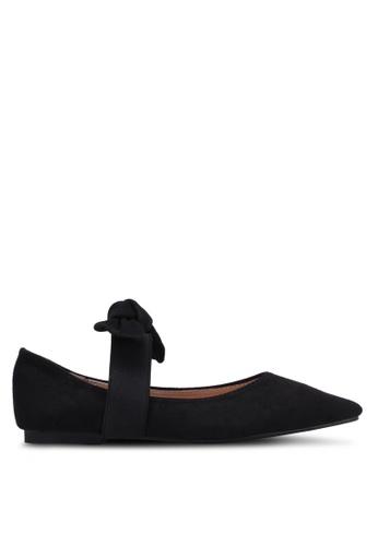 Velvet black Bow Tie Pointed Toe Flats 3F7B6SH57B3310GS_1