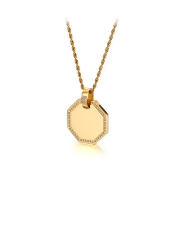 Glamorousky white Fashion and Simple Plated Gold Geometric Diamond 316L Stainless Steel Pendant with Cubic Zirconia and Necklace F3CD8AC7F6234BGS_1