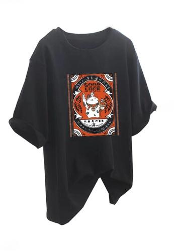 Twenty Eight Shoes black VANSA Fashionable Loose Short Sleeve T-Shirt VCW-Ts5601 281EBAABD346E8GS_1