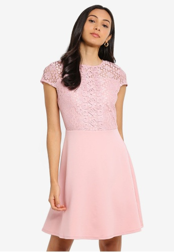 68fa01689fddb6 Dorothy Perkins pink Pink Scuba Lace Top Fit And Flare Dress  820A6AA5E2FFE4GS_1