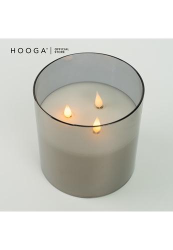 HOOGA black and white Hooga Flameless Block Candle Riv 90032HL14B16BAGS_1
