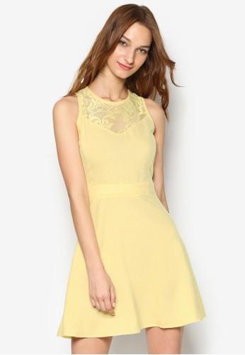 蕾絲拼肩無esprit 評價袖修身洋裝, 服飾, 洋裝