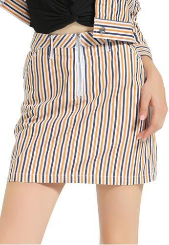 London Rag yellow Striped Mini Skirt 27FD8AAF1A0103GS_1